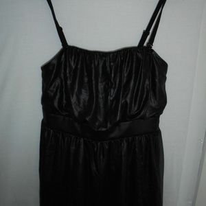Black Shimmer Coated Look Smocked Peplum Tank Top